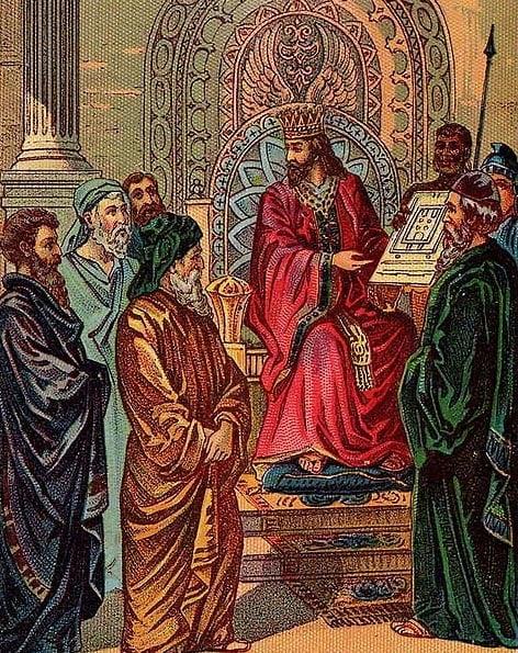 Salomón y el plan para el primer templo, ejemplo de una tarjeta de la Biblia publicada por la Providencia Litografía Co