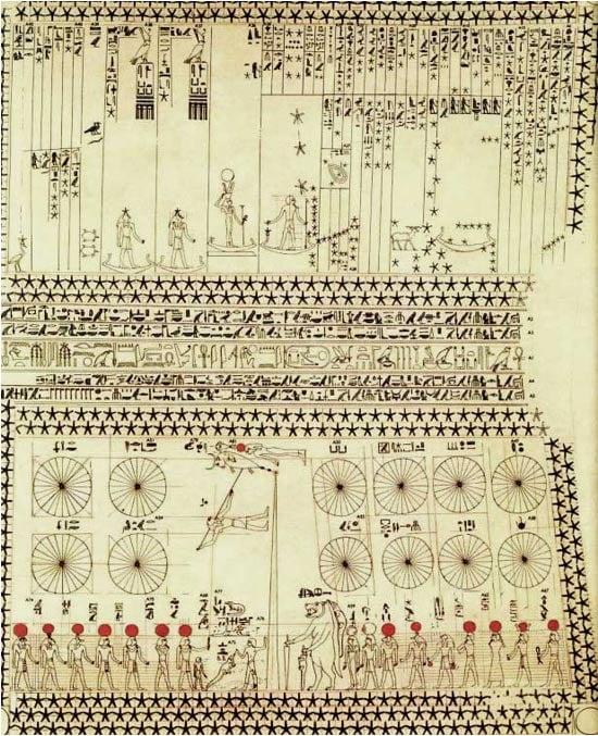 El mapa de las estrellas de Senemut, que difiere de la que se detalla en el artículo de la revista Scientific American.