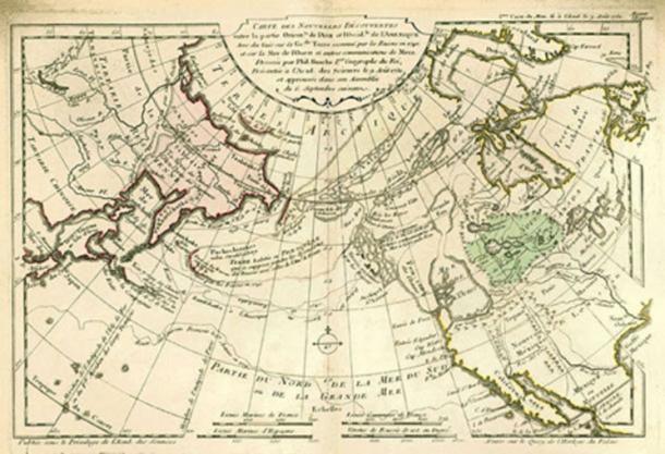 1753 mappa del mondo del cartografo francese Philippe Buache