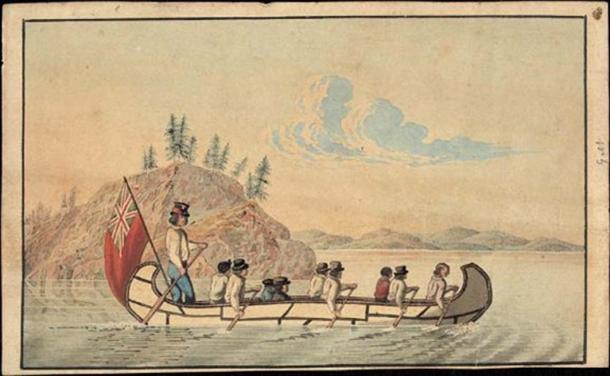 1825 illustrazione dei funzionari della Hudson's Bay Company in una canoa veloce che attraversa un lago. (Dominio pubblico)
