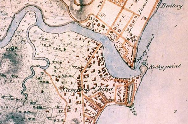 1825 map of Singapore - La Piedra de Singapur