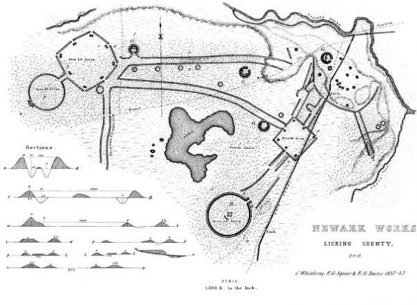 Un grabado del siglo 19 que muestra la disposición del Newark Earthworks en el Condado de Licking, Ohio