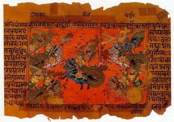 Testi indù antichi descrivono grandi battaglie che si svolgono e un'arma sconosciuta che causa grande distruzione.  Una illustrazione manoscritto della battaglia di Kurukshetra, registrato nel Mahabharata.