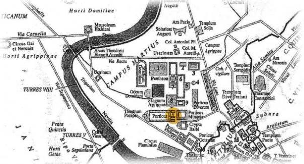 Localización del Área Sacra en la Antigua Roma.