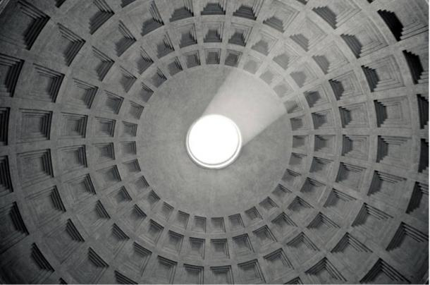 Ceiling in the Pantheon, made entirely from Roman concrete