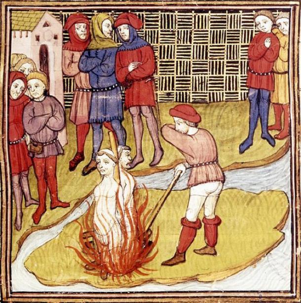 Détail d'une miniature de l'incendie du Grand Maître des Templiers et d'un autre Templier.  Extrait des Chroniques de France ou de St Denis.  (Domaine public)