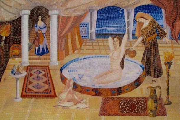 'Milk Bath di Cleopatra', mosaico contemporaneo