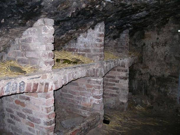 Cubby holes inside the Edinburgh Vaults, as seen on a ghost tour.