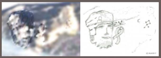 FIGURES 11 et 11a: Une tête humaine superbement sculptée dans un casque de style «roman / greco» avec une marque GIS en boucle ouverte sur le panneau avant. Le portrait, d'une hauteur de près de 800 mètres sur une largeur de 400 mètres, est gravé dans la face abrupte d'une crête de montagne. Immédiatement à droite (en regard) se trouve un symbole SIG très distinct qui donne une lecture en latitude de 82º 25 15 00S. A six cents mètres à l'est se trouve un piquet, un SIG à pointe en diamant indiquant la longitude du site.