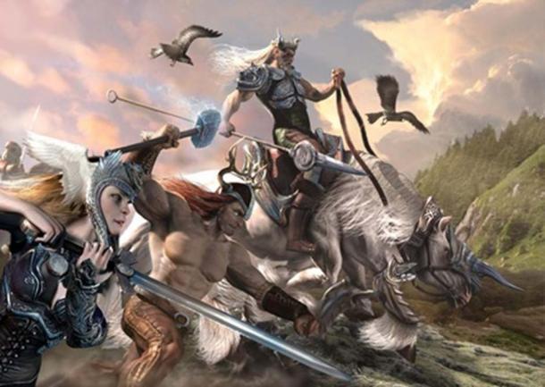 Germanic Gods Wodan, Thor and Frijar