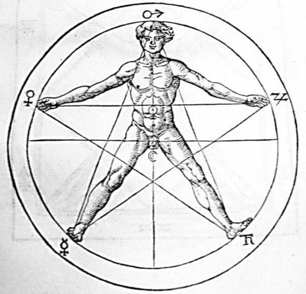 """Immagine di un corpo umano in un pentagramma tratto da """"Libri tres de occulta philosophia"""" di Heinrich Cornelius Agrippa. I simboli del sole e della luna sono al centro, mentre gli altri cinque """"pianeti"""" classici sono intorno al bordo."""