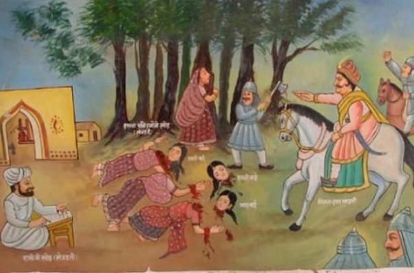 Ilustración de la Masacre Khejarli (1730) en la que los hombres 363 Bishnol, mujeres y niños fueron asesinados mientras trataban de proteger los árboles sean talados.