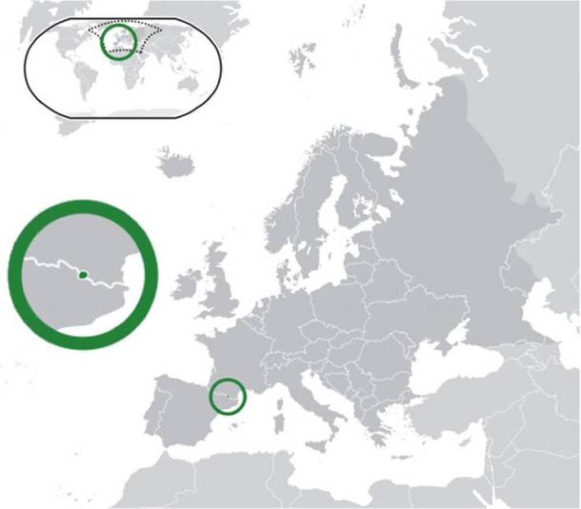 Location of Andorra (center of green circle) in Europe (dark grey).