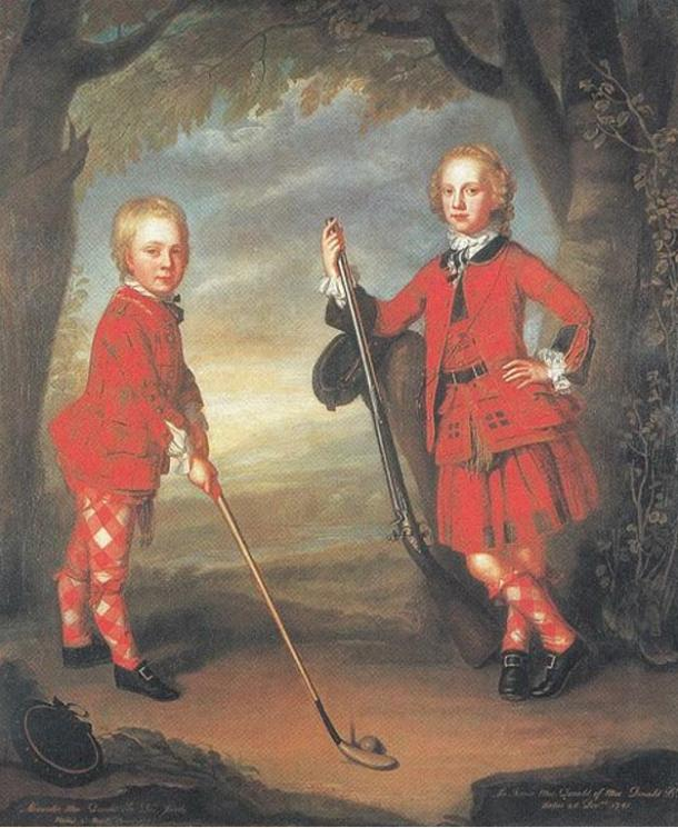The more modern image of golf. The MacDonald boys with ball and club, 18th century.