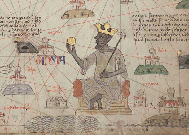 Detail showing Mansa Musa sitting on a throne and holding a gold coin. (Public Domain)