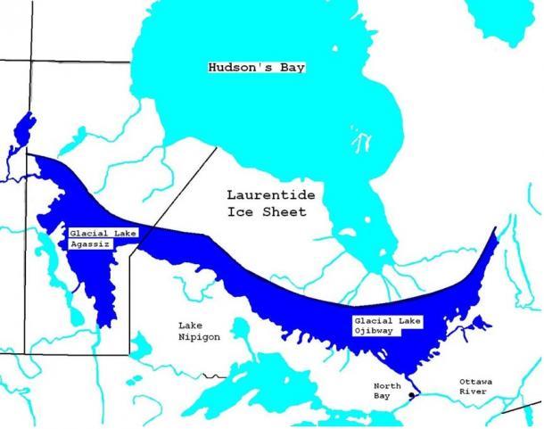 Mappa del glaciale Lake Agassiz e il Lago di Ojibway ca 7900 YBP.