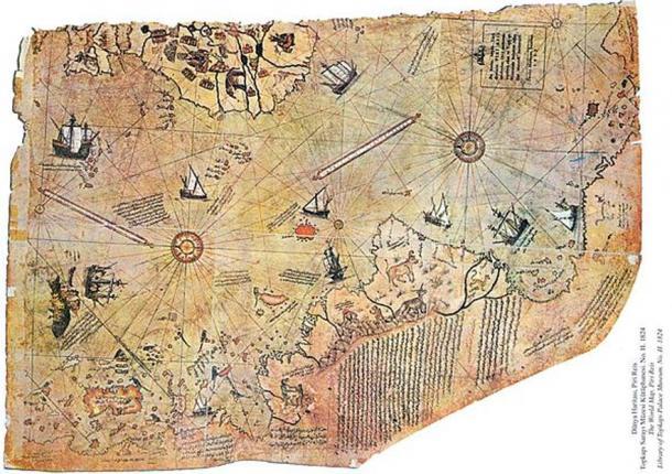 Mappa del mondo da parte ottomana Ammiraglio Piri Reis, disegnato nel 1513.