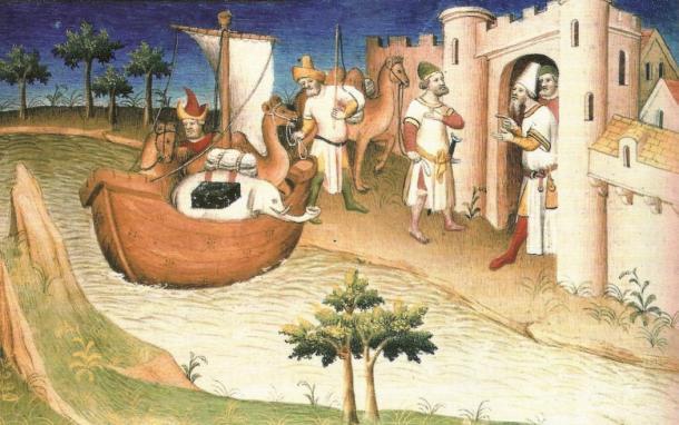 """Martellus utilizzato informazioni riportate da Marco Polo dai suoi viaggi in Asia per compilare la sua mappa. Marco Polo in viaggio, in miniatura dal libro """"Il Milione"""""""