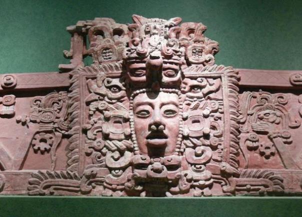 Máscara maya.  Estuco friso de Placeres, Campeche.  Clásico Temprano (c 250 -. 600 dC)