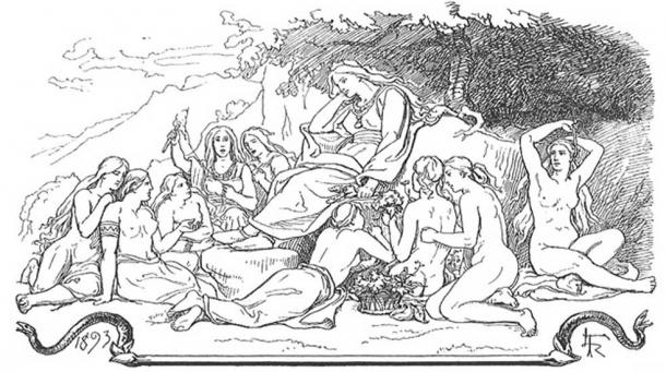 Menglöð and Nine Maidens including Eir by Froelich.