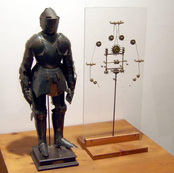 Modello di un robot sulla base di disegni di Leonardo da Vinci