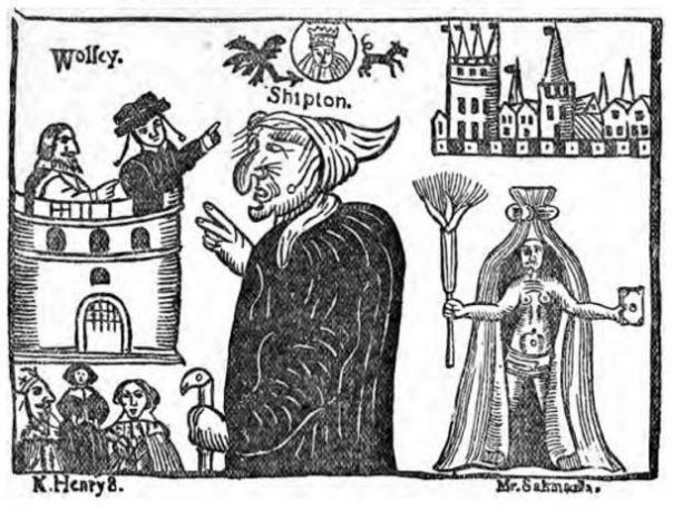 Imagen de la Madre Shipton y el cardenal Wolsey de 'Madre Shipton investigado: el resultado de un examen crítico en el Museo Biblioteca Británica de la literatura relativa a la sibila de Yorkshire. (1881)