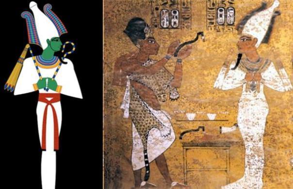 A la izquierda, representación del dios egipcio Osiris.  Derecho, la ceremonia de apertura de la boca, Tutankamón representado como Osiris
