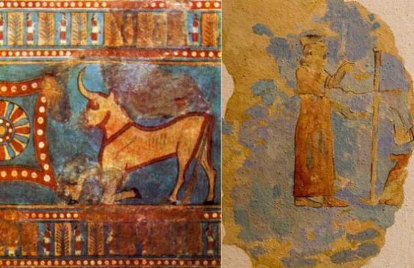 Izquierda: Estatuilla del dios del tiempo Teisheba, encontrado en 1941 durante las excavaciones en Karmir la falta de definición, en las ruinas de la fortaleza de urartio Teishebaini.  (Dominio Público) Derecha: la figura de la diosa Arubani, esposa de haldi.