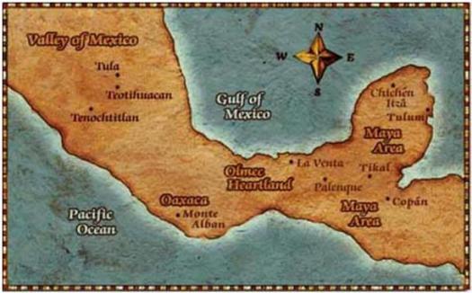 Los olmecas habitaron la costa sur del Golfo de México.