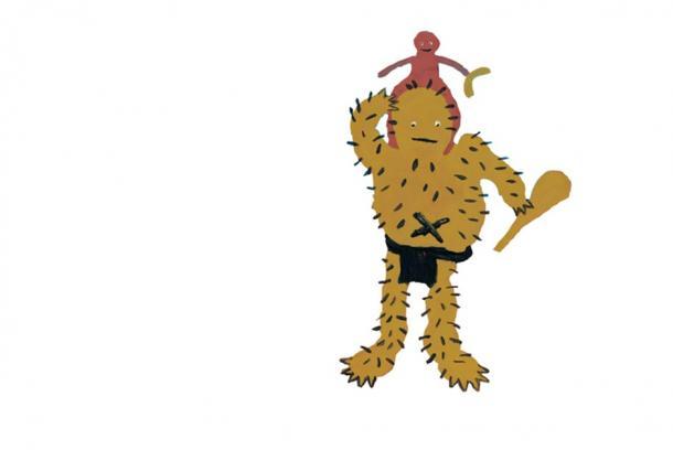 Peinture du Pangkarlangu avec un enfant perdu sur ses épaules, par Jillian Dixon Nakamarra, dans Molly Tasman Napurrurla, avec Christine Nicholls (traductrice et éditrice) 2002. The Pangkarlangu and the Lost Child, A Dreaming Narrative, Working Title Press, Adelaide, Australie