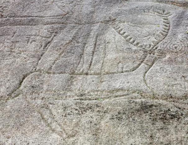 Petroglifo en Campo Lameiro. Galicia, España.