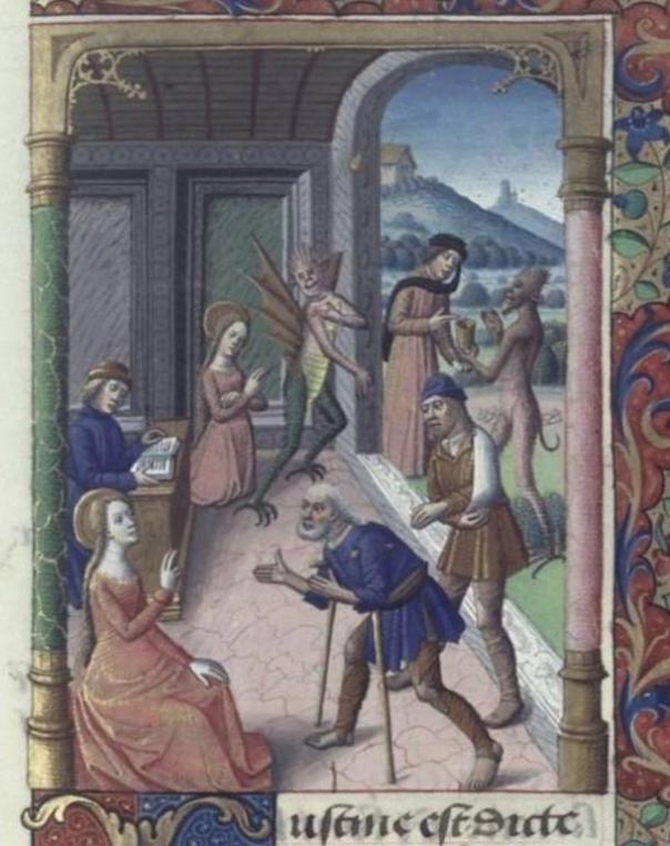 San Cipriano y el manuscrito de la leyenda de oro demonio, del siglo 14.