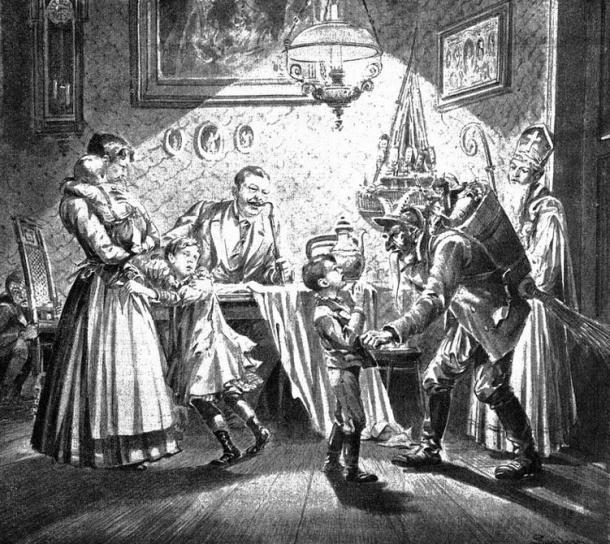 Saint Nicholas and Krampus visit a Viennese home (1896 illustration).