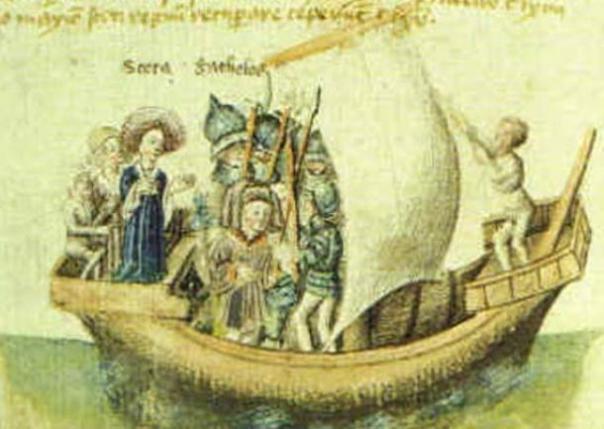 Una pintura del siglo 15 del viaje de Scota de Egipto.