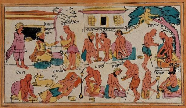 Sikh ascetics misbehaving: preparing drugs, slothfulness, begging, teaching the young wrong ways. Colored transfer lithograph.