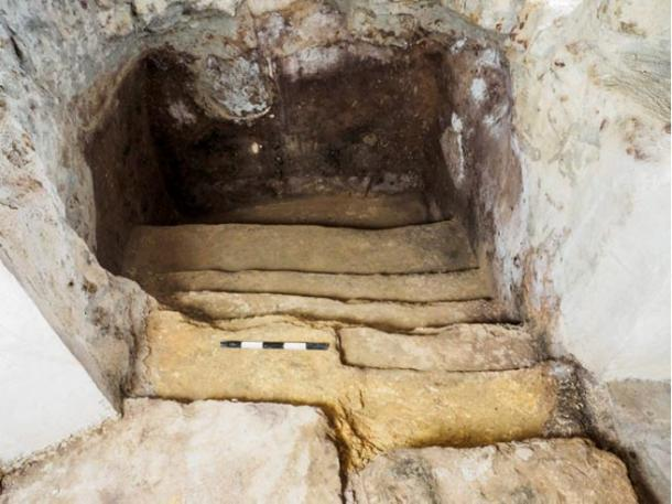 Stairs lead down to the mikvah underneath a Jerusalem family's living room floor. That bath, too, dates to the era of the Second Temple. (Assaf Peretz of the Israel Antiquities Authority)