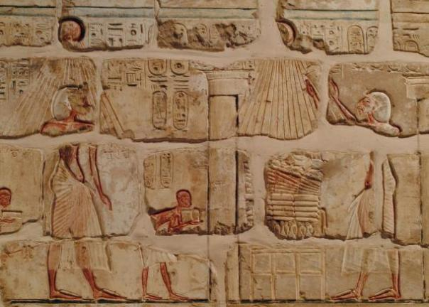 Talatat cuadras del templo de Atón en Karnak de Ajenatón.