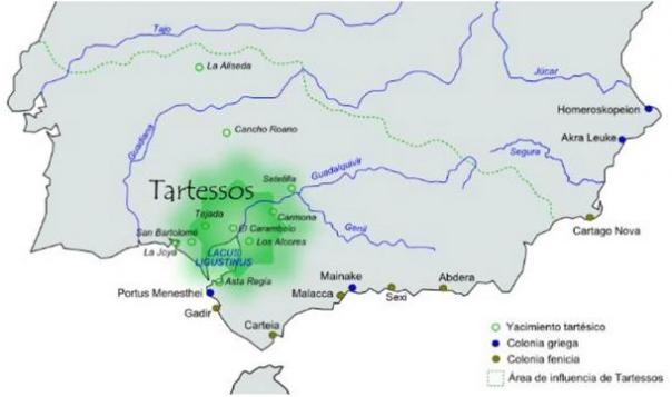 Área aproximada de influencia de la civilización de Tartessos.