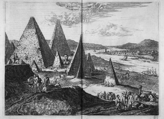The Great Sphinx of Giza in Olfert Dapper, Description de l'Afrique (1665)- note the depiction of two sphinxes (public domain)