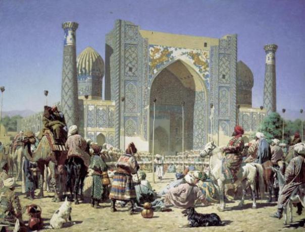 Triunfo por Vasily Vereshchagin, que representa la Madraza de Sher Dor en el Registán.