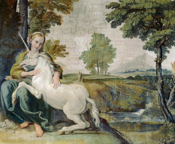 Una Virgen con un unicornio.  (1602) Fresco de Domenichino.