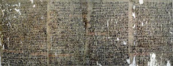 Westcar Papiro en exhibición en el Museo Ägyptisches, Berlín.
