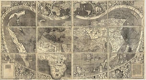 World Map Universalis Cosmographia 1507; dal cartografo tedesco Martin Waldseemüller