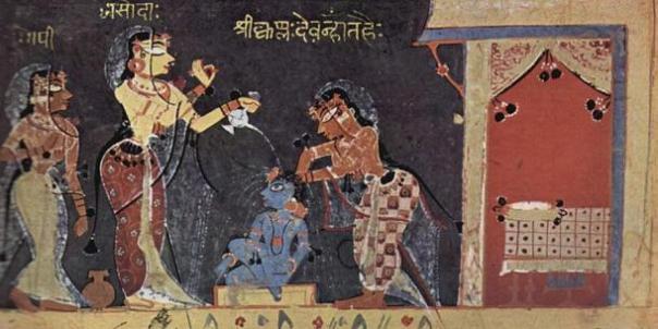 Yashoda que baña al niño Krishna desde el Bhagavata Purana Manuscrito (1500)