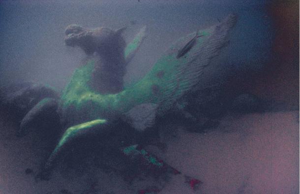 Foto di scultura antica sommerso sotto il Mar Rosso.