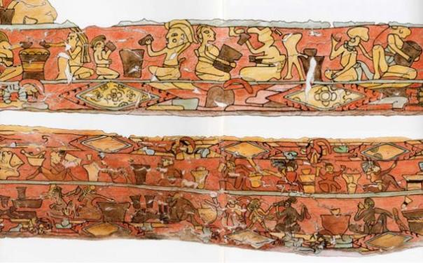 """Otro de los hallazgos arqueológicos de la Gran Pirámide de Cholula es el mural llamado """"Los Bebedores"""" (los bebedores)."""