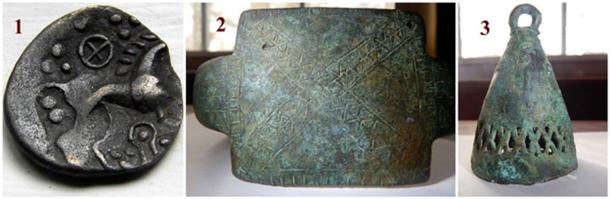 Photo 1 is a coin from the Iceni tribe, 62 AD. Photo 2 is a Central European arm bracelet (c.a. 400 BC), in which are two sets of interconnected X's extending from top to bottom inside of both bars . Photo 3 is a bell (200 BC) from Central Europe (likely used for ceremonial purposes) containing interconnected X's engraved through its metal and around its body.
