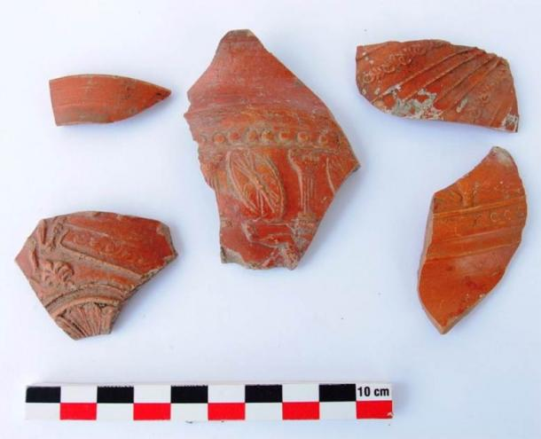 A few of the ancient decorated ceramic fragments found at the Cape Chiroza site. (Burgas Municipality)
