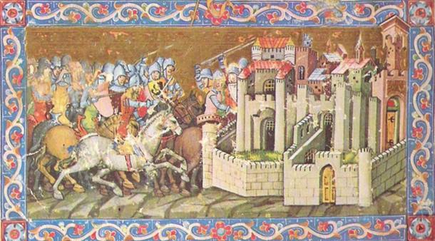 A 14th-century chivalric-romanticized painting of the Huns laying siege to a city.