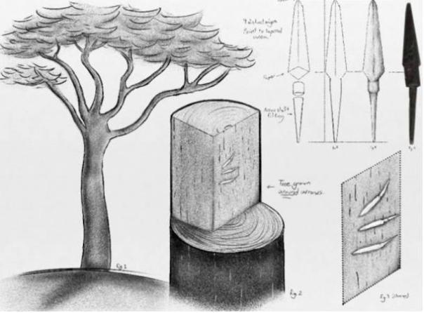 Una representación de las saetas que se encuentran en una viga de madera en Oak Island. El perno en el extremo derecho es una fotografía del artefacto real, no un dibujo.